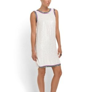 {CYNTHIA ROWLEY} All Over Sequin White Shift Dress